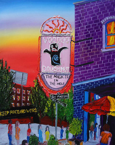 Wall Art - Painting - Voodoo Doughnut Sign 4 by Dunbar's Modern Art