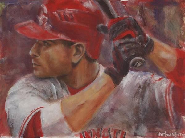 Hitter Painting - Votto by Josh Hertzenberg