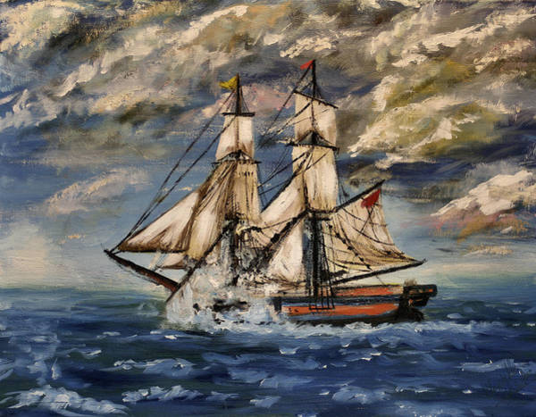 Tall Ships Wall Art - Painting - Voyage Of The Cloud Chaser by Abbie Shores