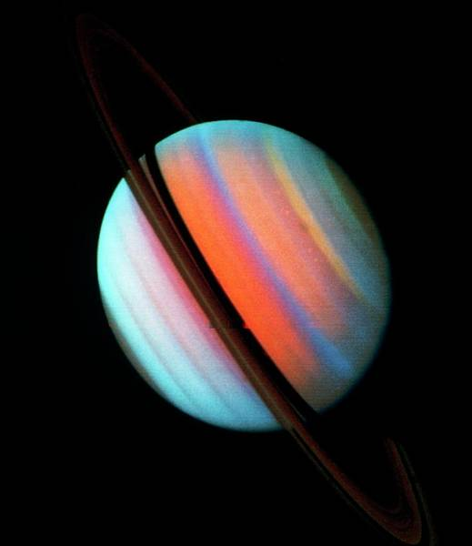 Voyager Photograph - Voyager 1 Image Of Saturn & Its Ring System by Nasa/science Photo Library