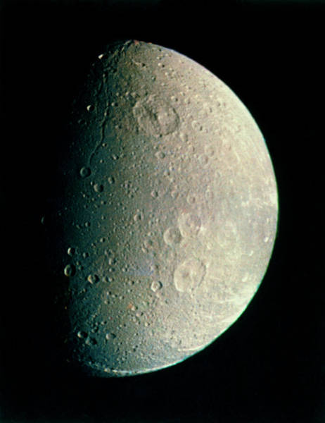 Dione Photograph - Voyager 1 Image Of Saturn's Moon Dione by Nasa/science Photo Library