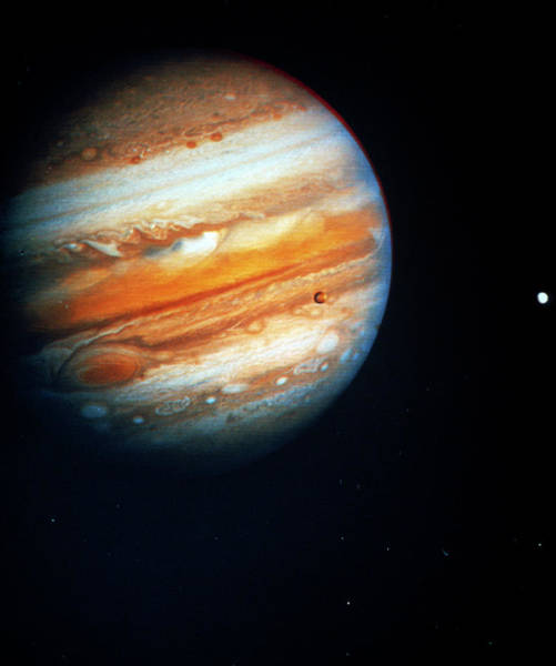 Voyager Photograph - Voyager 1 Photo Of Jupiter & Two Of Its Moons by Nasa/science Photo Library