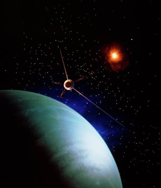 Flyby Photograph - Voyager 2 & Neptune by Seth Shostak/science Photo Library