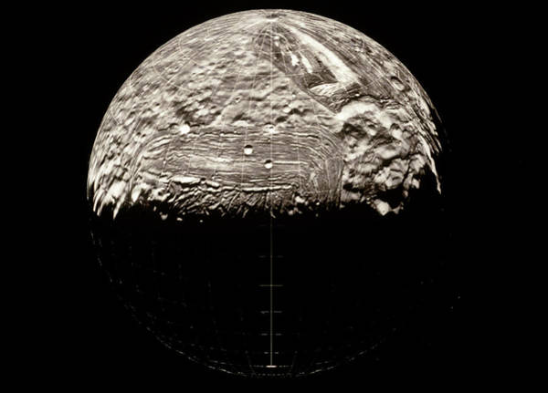 Imagery Photograph - Voyager 2 Mosaic Image Of The Surface Of Miranda by Nasa/science Photo Library