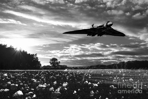 Avro Vulcan Wall Art - Digital Art - Vulcan History Mono by J Biggadike