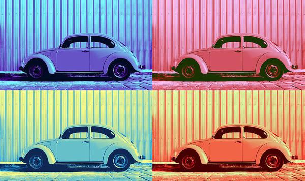 Uplift Photograph - Vw Beetle Pop Art Quad by Laura Fasulo