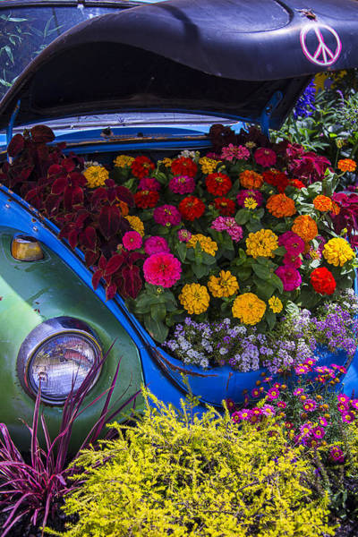 Wall Art - Photograph - Vw Bug With Flowers by Garry Gay