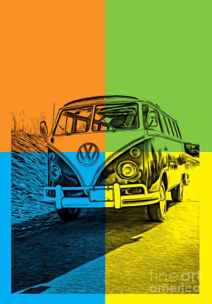 Photograph - Vw Bus Pop Art 4 by Edward Fielding