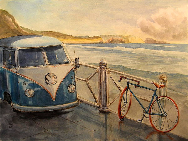 Camper Wall Art - Painting - Vw Westfalia Surfer by Juan  Bosco