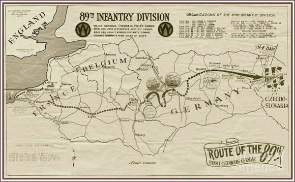 World War Ii Mixed Media - W W I I 89th Division Map by Marilyn Smith