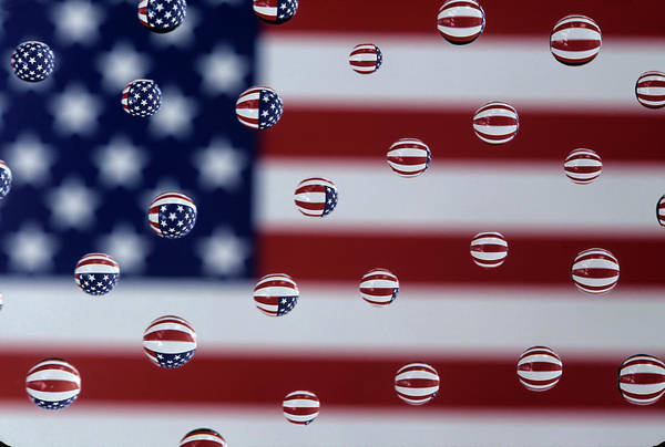 Wa, Redmond, American Flag, Reflected Art Print