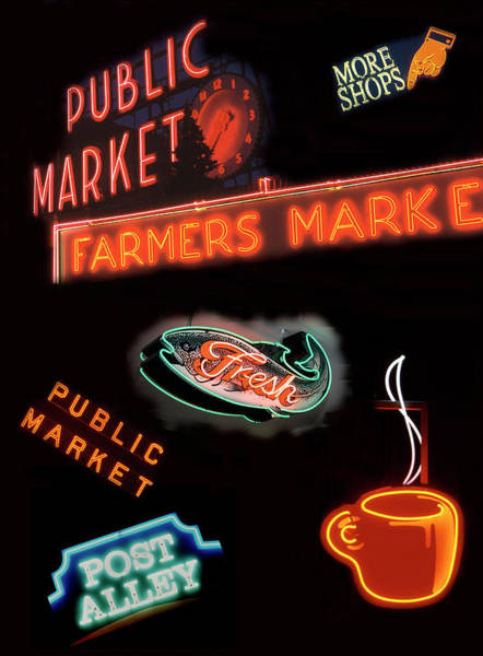 Commerce Photograph - Wa, Seattle, Pike Place Market Signs by Jamie and Judy Wild