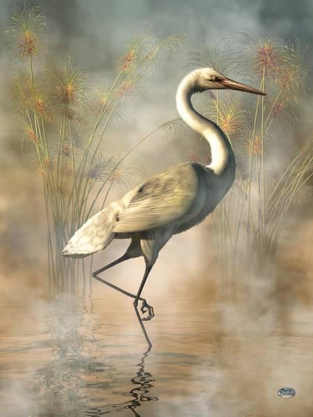 Egret Digital Art - Wading Egret by Daniel Eskridge