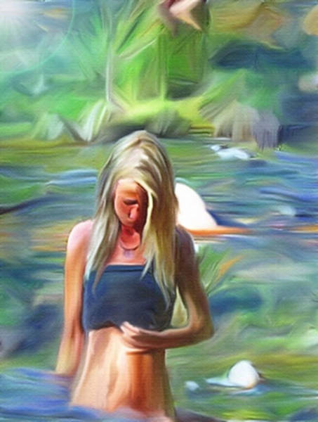Painting - Wading In The Creek by Dennis Buckman