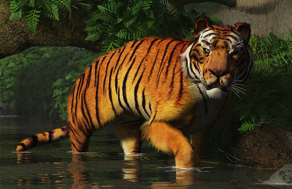 Digital Art - Wading Tiger by Daniel Eskridge