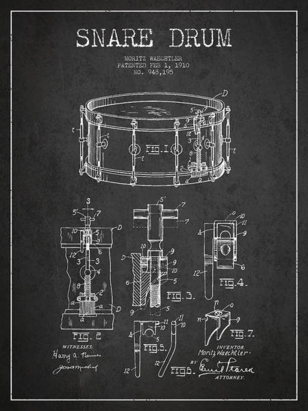Country Living Digital Art - Waechtler Snare Drum Patent Drawing From 1910 - Dark by Aged Pixel