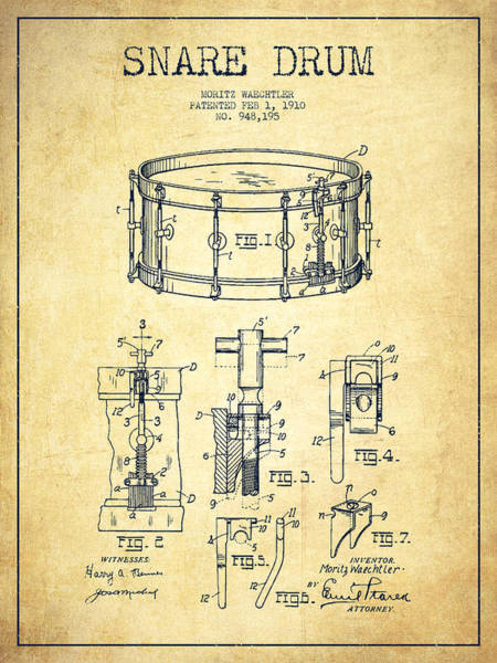 Intellectual Property Wall Art - Digital Art - Waechtler Snare Drum Patent Drawing From 1910 - Vintage by Aged Pixel