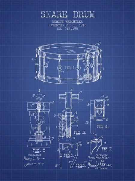 Country Living Digital Art - Waechtler Snare Drum Patent From 1910 - Blueprint by Aged Pixel