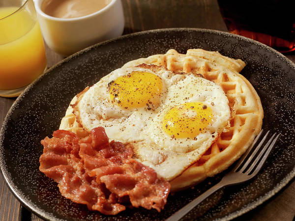 Sunny Side Up Wall Art - Photograph - Waffles With Fried Eggs And Bacon by Lauripatterson