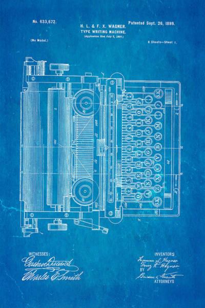 1899 Photograph - Wagner Type Writing Machine Patent Art 1899 Blueprint by Ian Monk
