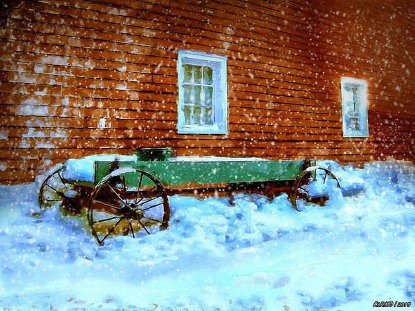 Wagon Digital Art - Wagon Cart In The Snow by Ken Morris