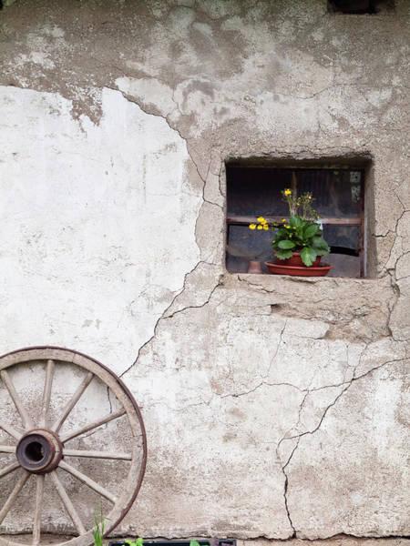Barn Photograph - Wagon Wheel By Barn Window by Steve Waters