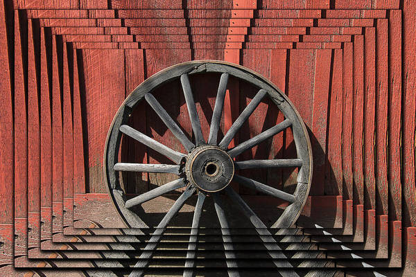Red Wagon Wall Art - Photograph - Wagon Wheel Zoom by Garry Gay