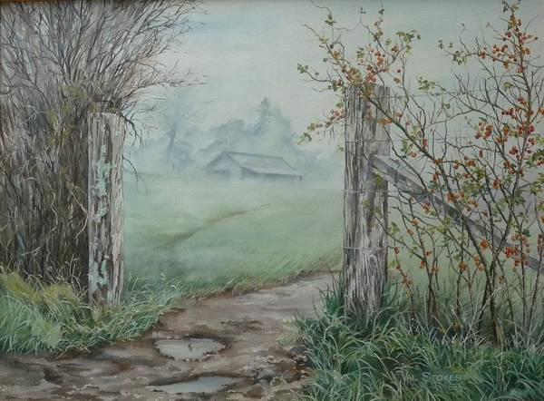 Fencepost Painting - Waikato Fog. by Val Stokes
