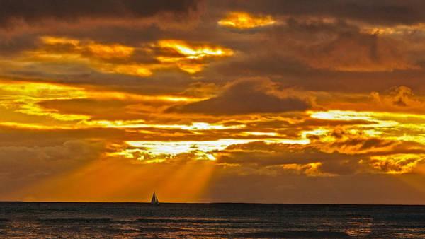 Photograph - Waikiki Sun Set by John Johnson