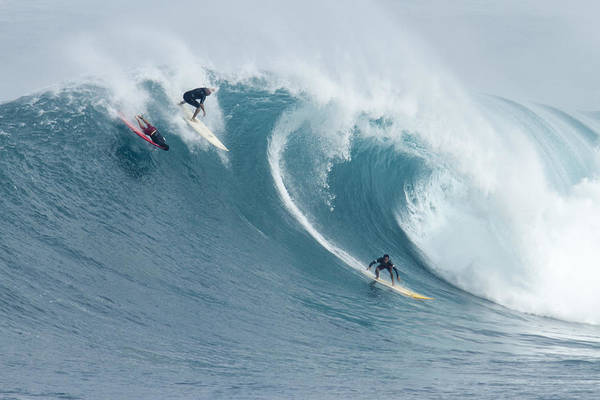 Big Waves Photograph - Waimea Surfers by Sean Davey