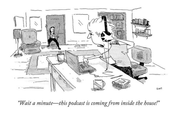 Haunted House Drawing - Wait A Minute - This Podcast Is Coming by Sara Lautman