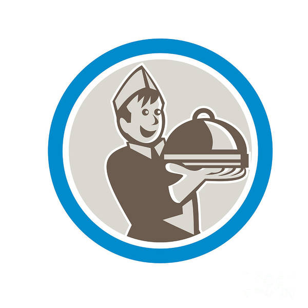 Serve Digital Art - Waiter Serving Food On Platter Retro by Aloysius Patrimonio