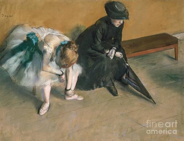 Warming Up Wall Art - Painting - Waiting  by Edgar Degas