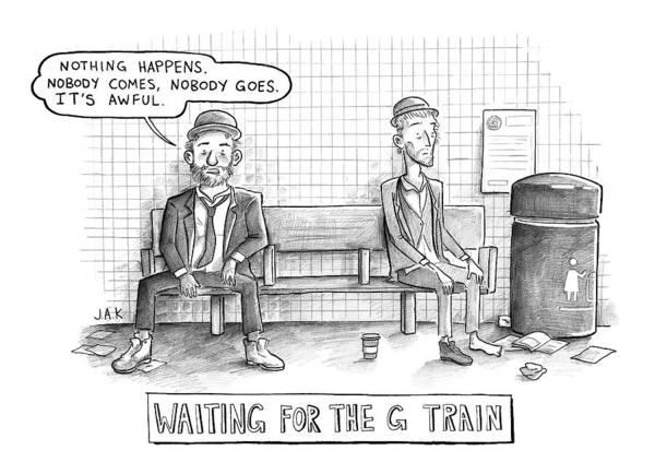 Subway Drawing - Waiting For The G Train -- Parody Of Waiting by Jason Adam Katzenstein