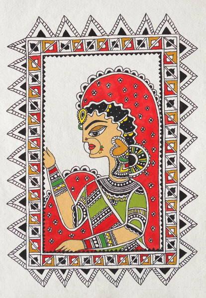 Waiting For You Madhubani-mithila Painting Indian Ancient Folk Art Art Print