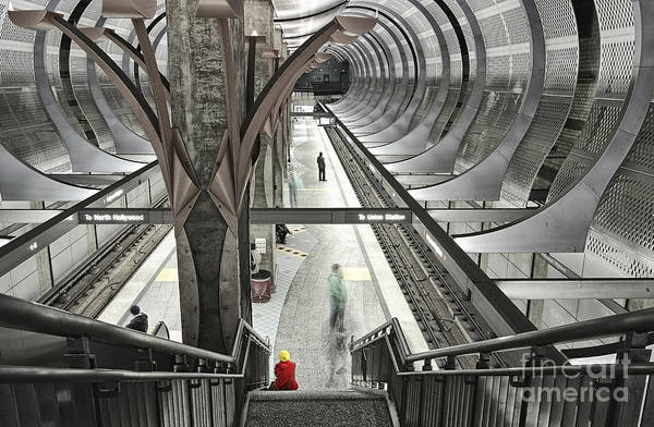 Highland Light Photograph - Waiting - Hollywood Subway Station. by Jamie Pham
