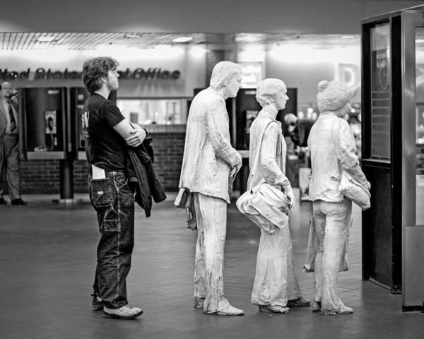 Photograph - Waiting In Line At Grand Central Terminal 1 - Black And White by Gary Heller