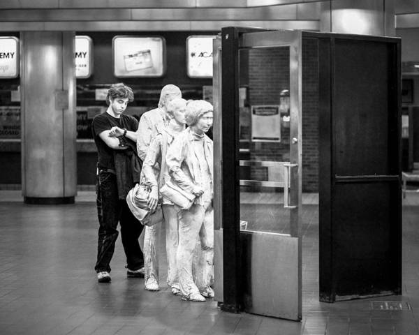 Photograph - Waiting In Line At Grand Central Terminal 2 - Black And White by Gary Heller