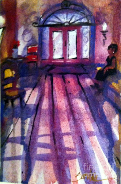 Leaded Glass Painting - Waiting In The Lobby by Sandra Stone