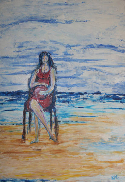 Painting - Waiting On The Beach by Kathy Peltomaa Lewis