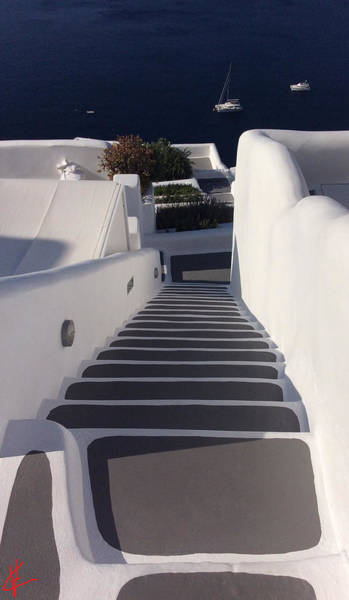 Photograph - Walking Down The Stairs To Oceon Santorini by Colette V Hera  Guggenheim
