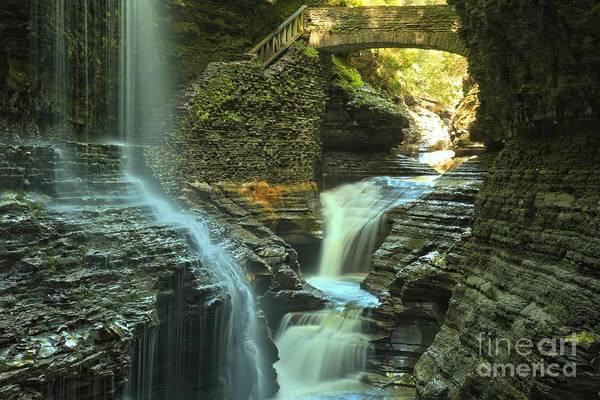 Photograph - Wakins Glen Falls Under The Bridge by Adam Jewell