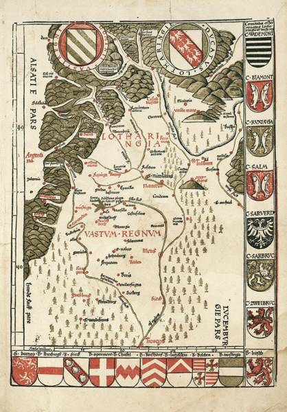 Wall Art - Photograph - Waldseemuller Map Of Lorraine by Library Of Congress, Geography And Map Division/science Photo Library