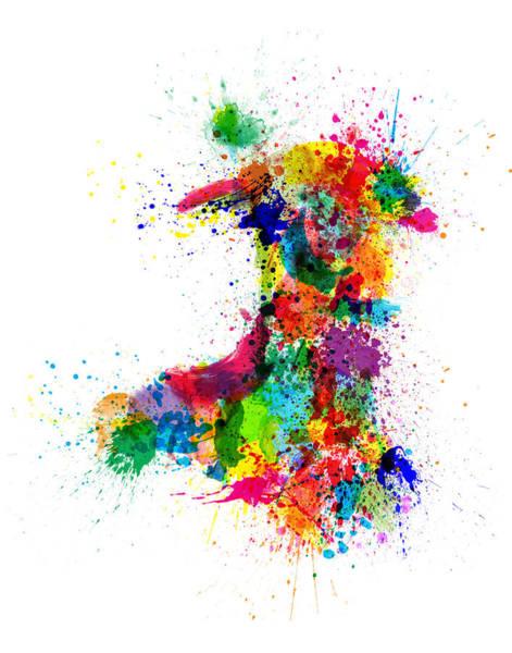Wales Wall Art - Digital Art - Wales Paint Splashes Map by Michael Tompsett