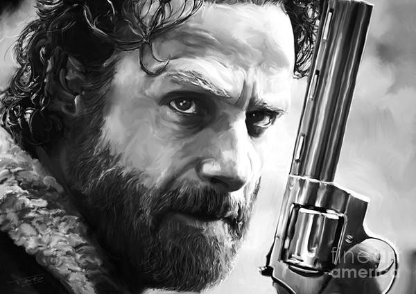 The Walking Dead Painting - Walking Dead - Rick Grimes by Paul Tagliamonte