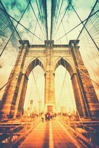 Steel Beams Wall Art - Photograph - Walk Across Brooklyn Bridge  New York by Rike