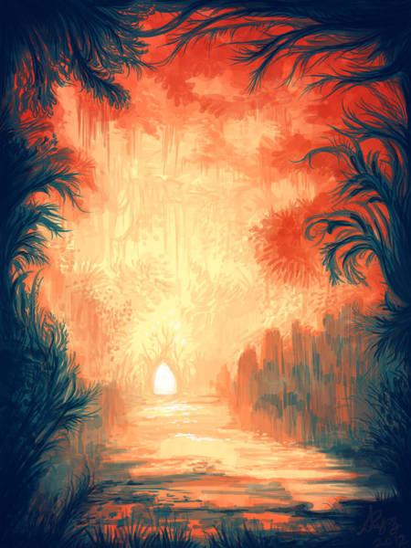Symmetrical Digital Art - Walk Away by Illustrations By Annemarie Rysz