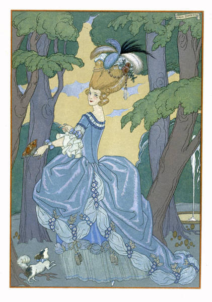 Flirtatious Painting - Walk In The Forest by Georges Barbier