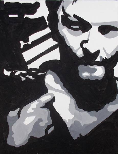 White Zombie Painting - Walking Dead Daryl Close by Marisela Mungia