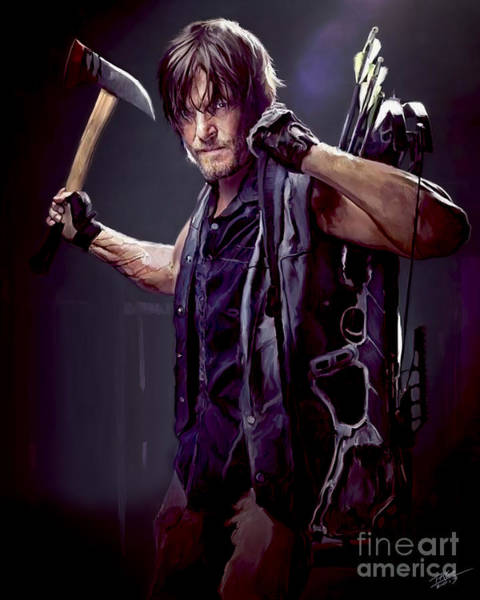 Shower Curtain Painting - Walking Dead - Daryl Dixon by Paul Tagliamonte